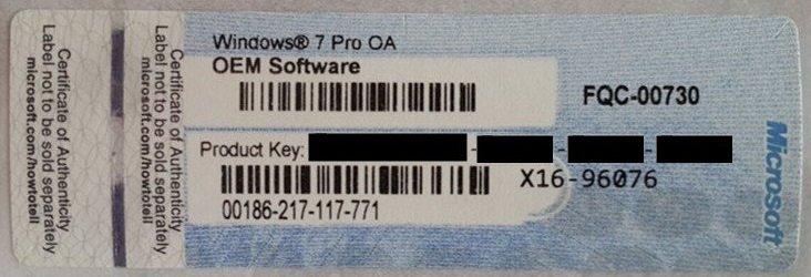 MS Windows 7 Pro OEM COA FQC-00730 | Refurb Naljepnica | Orig. | RČ R1