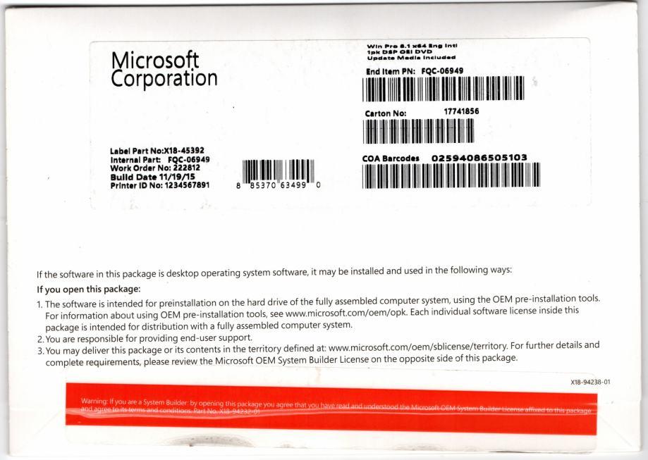 MS Windows 8.1 Pro 32|64bit RETAIL Eng. DVD | Orig. | Račun R1