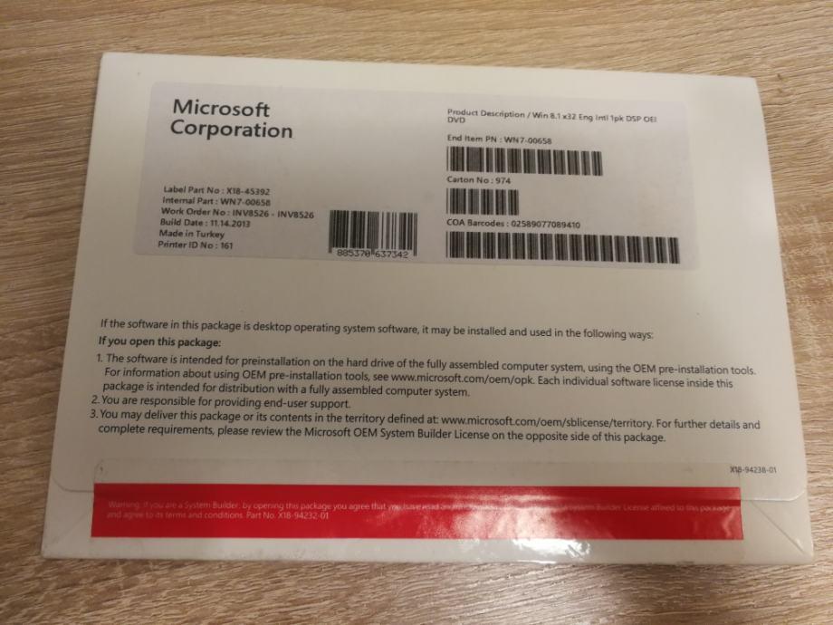 MS Windows 8.1 32bit OEI DVD | Naljepnica | Original | Novo I Račun R1