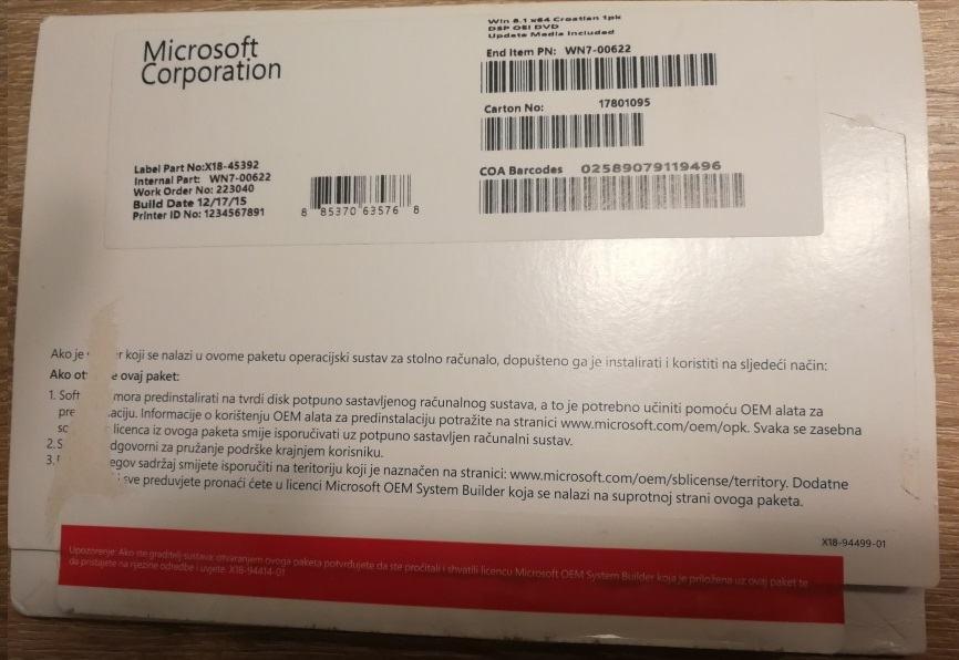 MS Windows 8.1 64bit OEI DVD | Naljepnica | Original | Račun R1