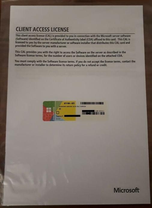 Windows Server 2016 Standard 5 Cal User/Device licenca   NOVO   R1 rač