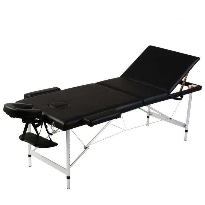 Crni sklopivi masažni trodijelni stol s aluminijskim okvirom - NOVO