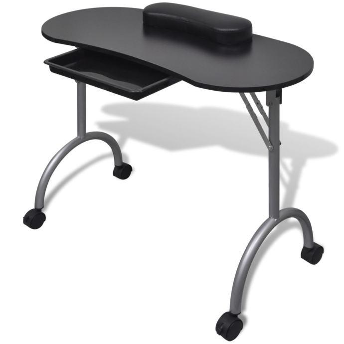 Crni sklopivi stol za manikuru s kotačićima - NOVO