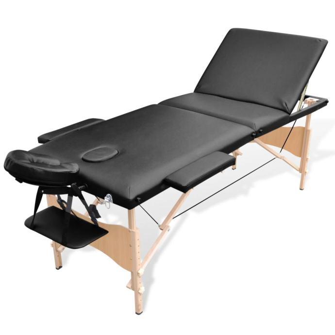 Sklopivi stol za masažu s drvenim okvirom trodijelni crni - NOVO