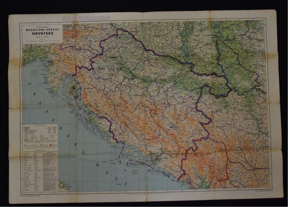Karta zemljovid ndh zagreb 1942 original prethodna thecheapjerseys Choice Image