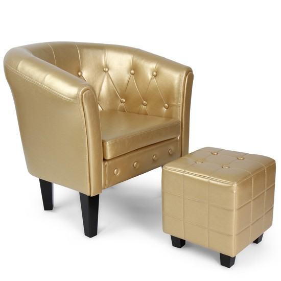Fotelja + tabure rustikalni (Chesterfield) Novo, u 4 boje