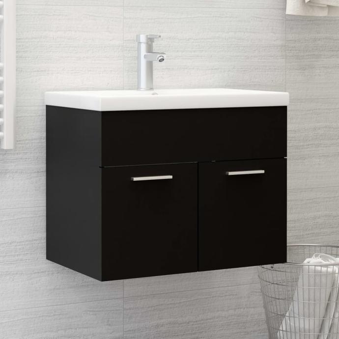 Ormarić s ugrađenim umivaonikom crni od iverice - NOVO
