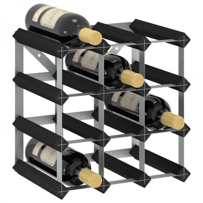 Stalak za vino za 12 boca crni od masivne borovine - NOVO
