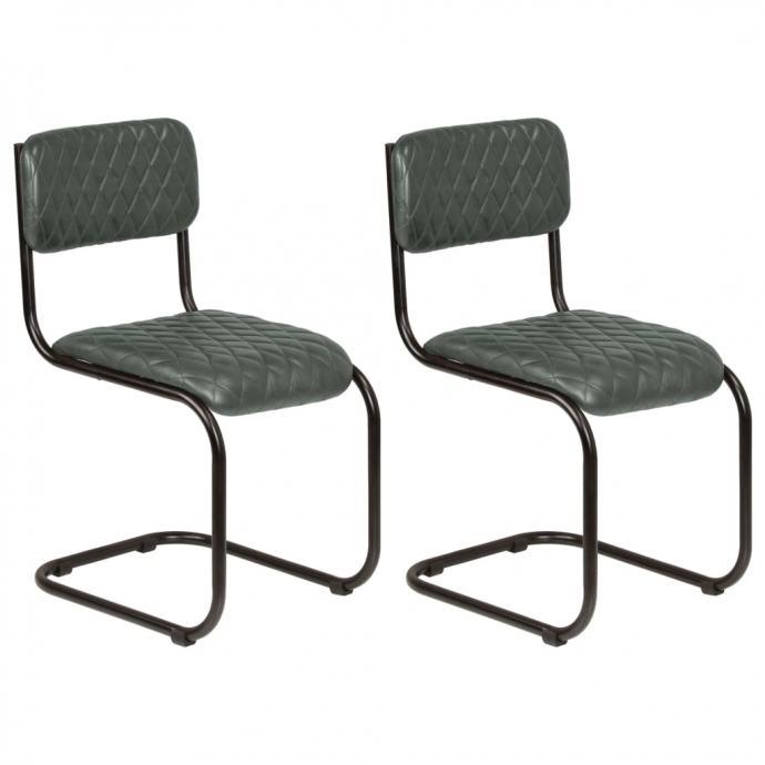 Blagovaonske stolice od prave kože 2 kom sive - NOVO