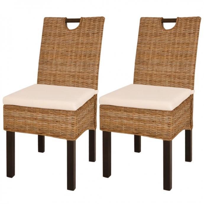 vidaXL Blagovaonske stolice 2 kom Kubu Ratan i Mango Drvo 243639