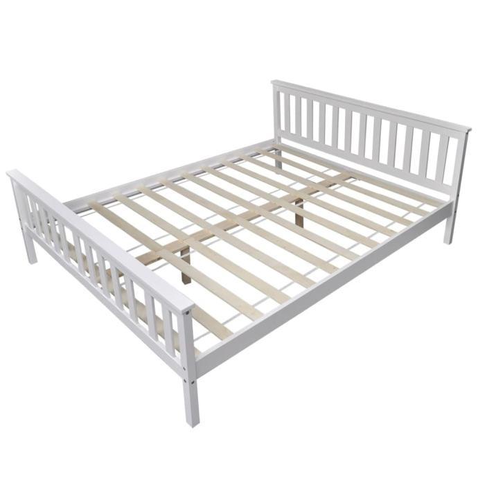 vidaXL Okvir za krevet od masivne borovine bijeli 246065
