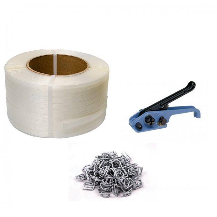 Set za pakiranje - natezač - meka traka 19mm 600m - 1000 kopči