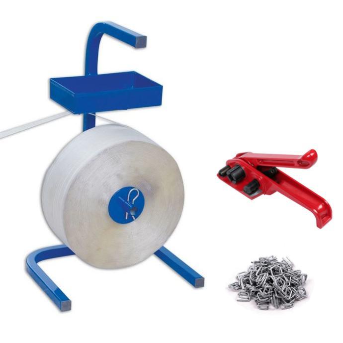 Set za pakiranje - stalak - meka traka 16mm 850m - kopče - natezač