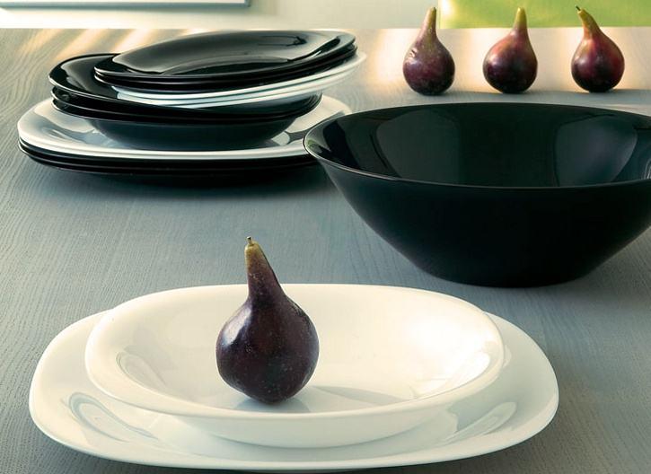 19 dj. Set tanjura za jelo Carine crno-bijeli