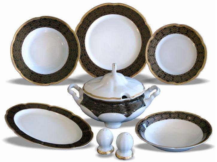 Servis za jelo porculan 23 djelni Bolero- crno zlatni Ornament