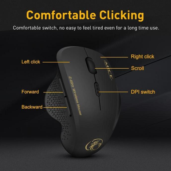 Ergonomski miš iMice u sivoj boji, silent klik!