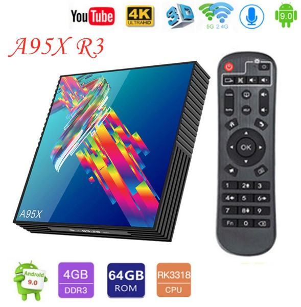 A95X R3 Android 9.0 Smart TV Box 4G 32GB NOVO!