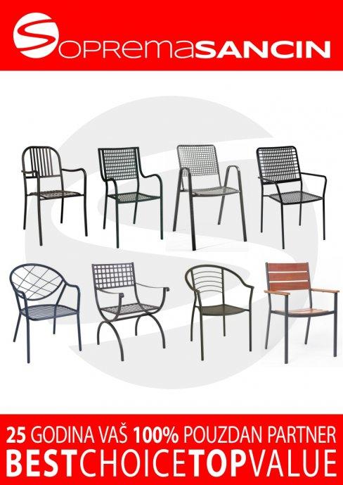 Vrtne metalne stolice za ugostiteljstvo visoke kvalitete, NOVO!
