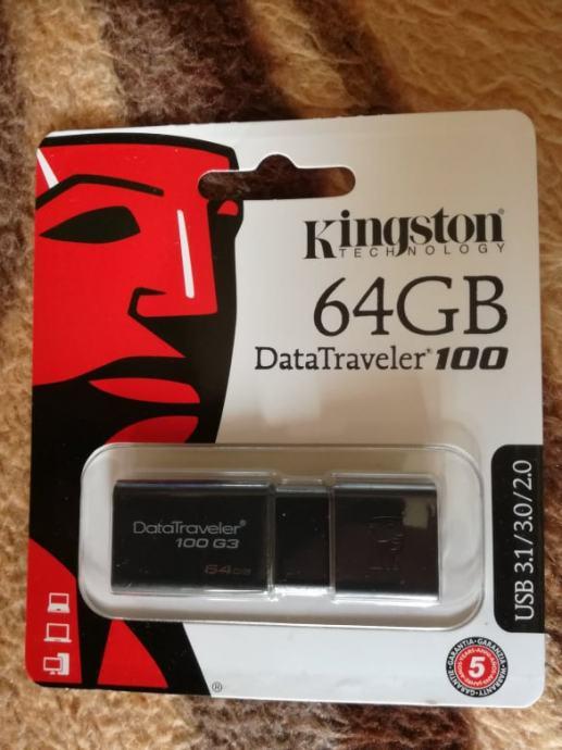Kingston 64GB DataTraveler 100 USB flash drive / USB stick, novo