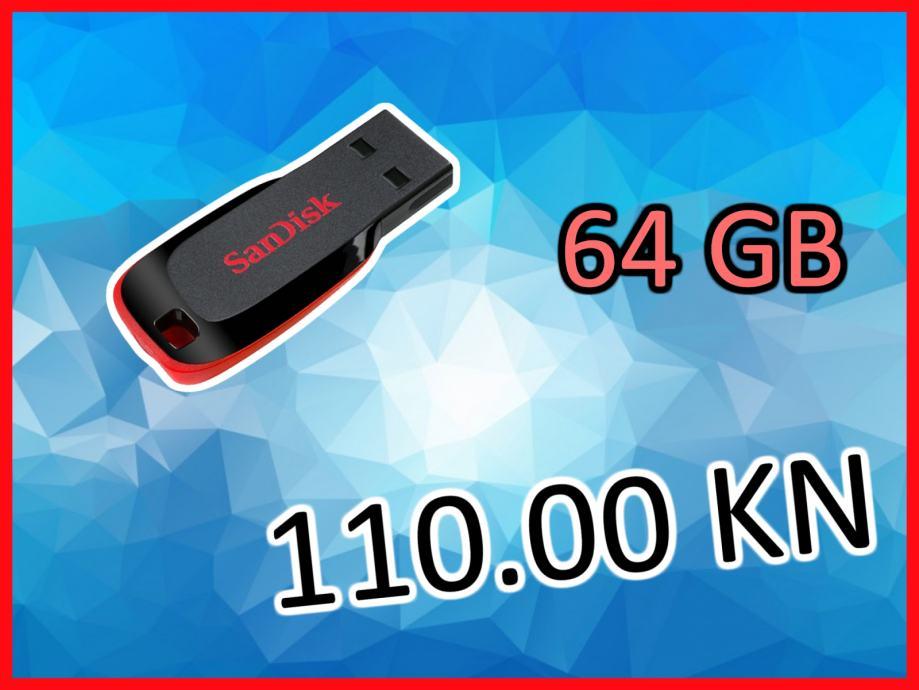 RASPRODAJA USB stick 64GB SanDisk Cruzer Blade memorija