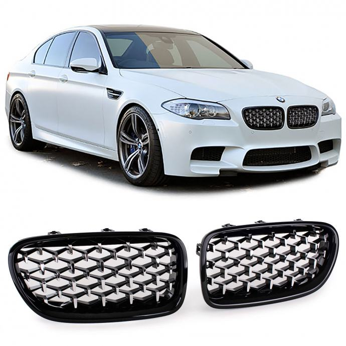 BMW 5 F10 F11 2010 - 2017 MASKA BUBREZI GRILL SPORT CRNA SJAJNA