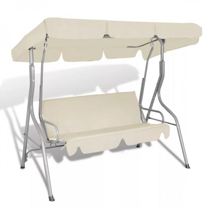 Ljuljačka stolica vanjska baldahinom boja bijeli pijesak - NOVO