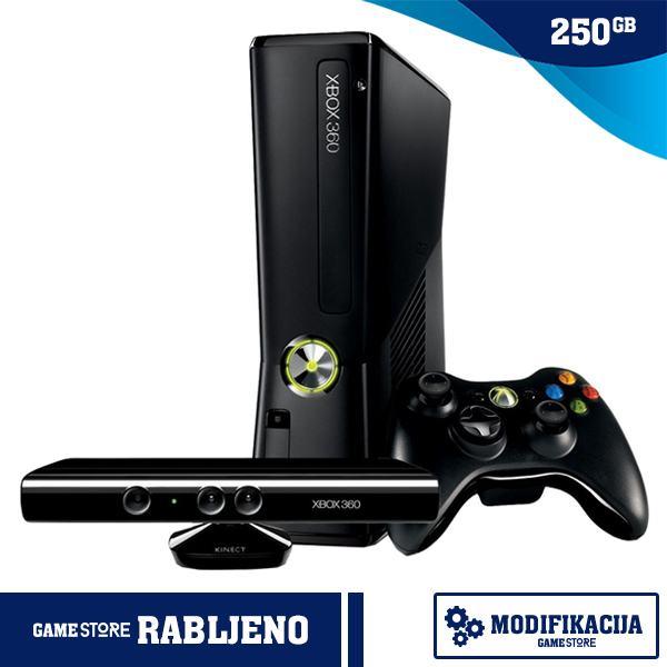 Xbox 360 250GB Slim + Kinect + Modifikacija,TRGOVINA,RABLJENO!
