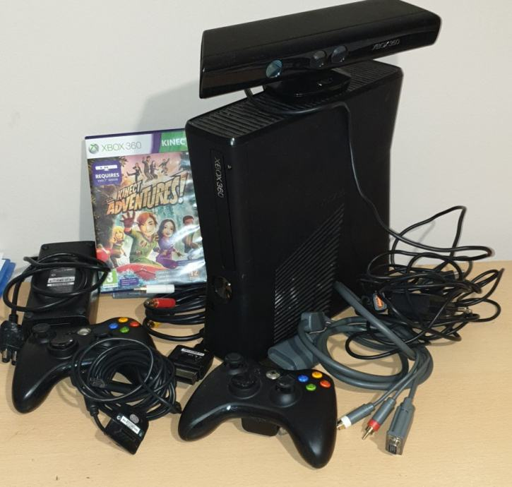 Xbox 360 slim + kinect + 250GB + 2 kontrolera