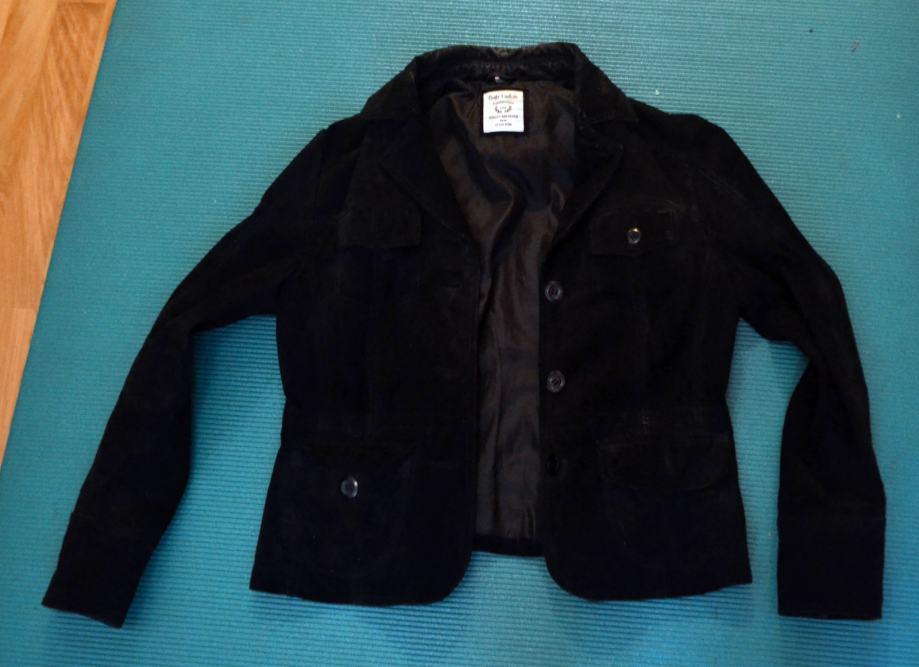 crna jakna od brušene kože /antilop