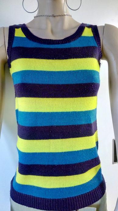 c750ad6a93db Tanki vuneni pulover bez rukava na moderne žuto plave pruge br S - M