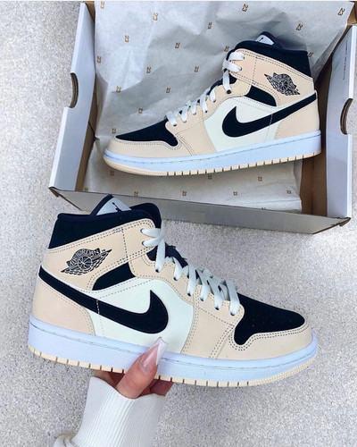 "Adam Shoes Nike Air Jordan 1 Mid ""Light Cream Black"""